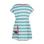 Bryher Boat Neck Dress, Aqua Stripe Flamingo