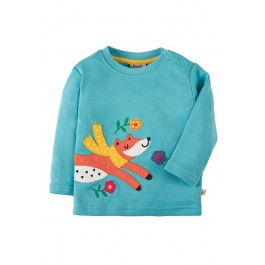 Little Discovery Applique Top, Aqua/Fox